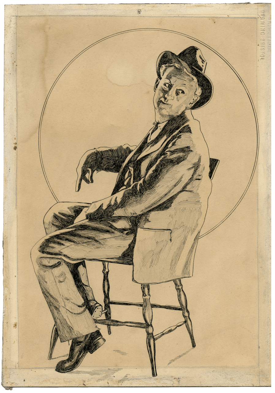 A 1930 S Illustration Art Ink Drawing Manner Of Norman