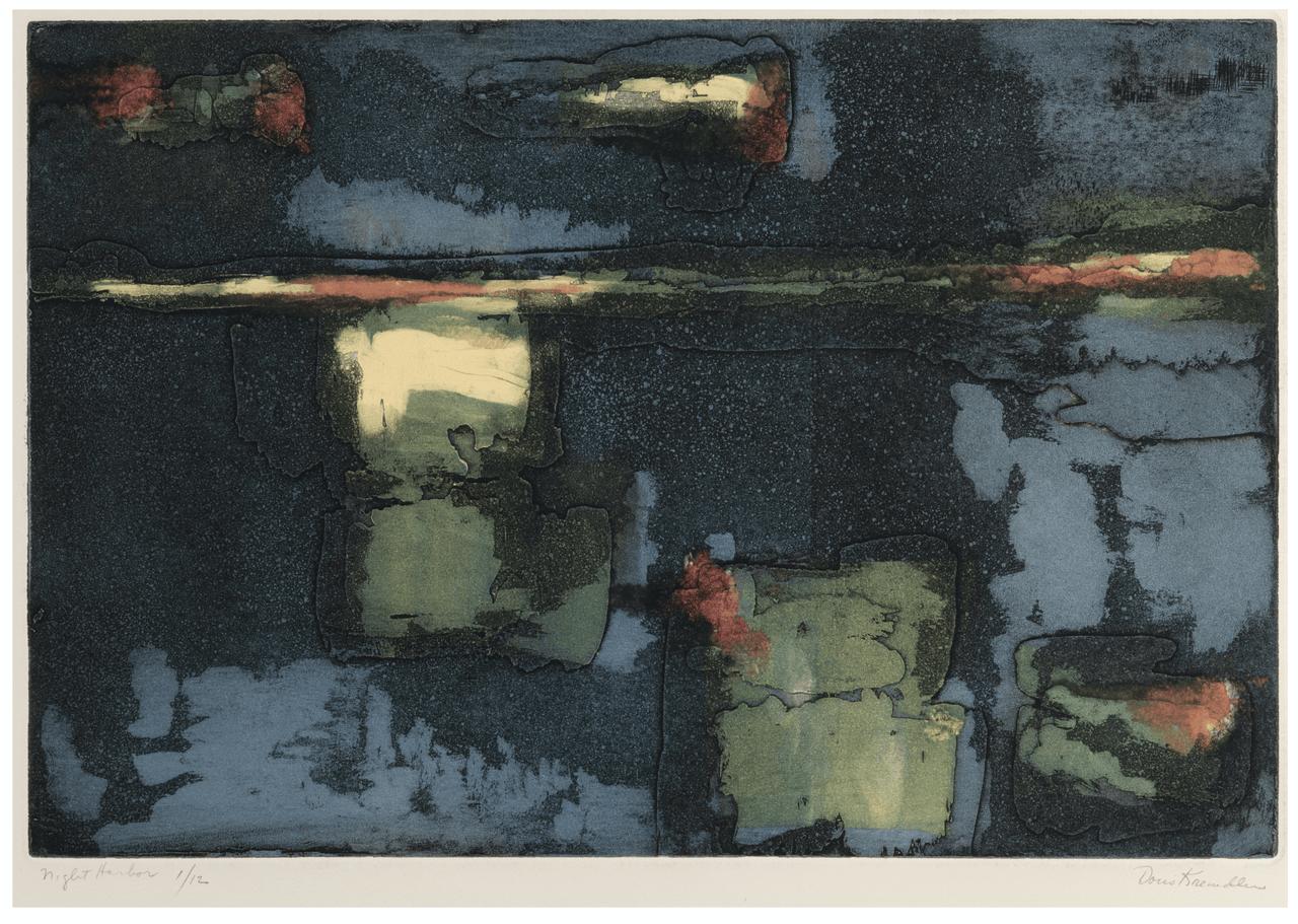 """A Vintage Vintage Print Etching, """"Night Harbor"""" By Doris Kreindler 1901-1974"""