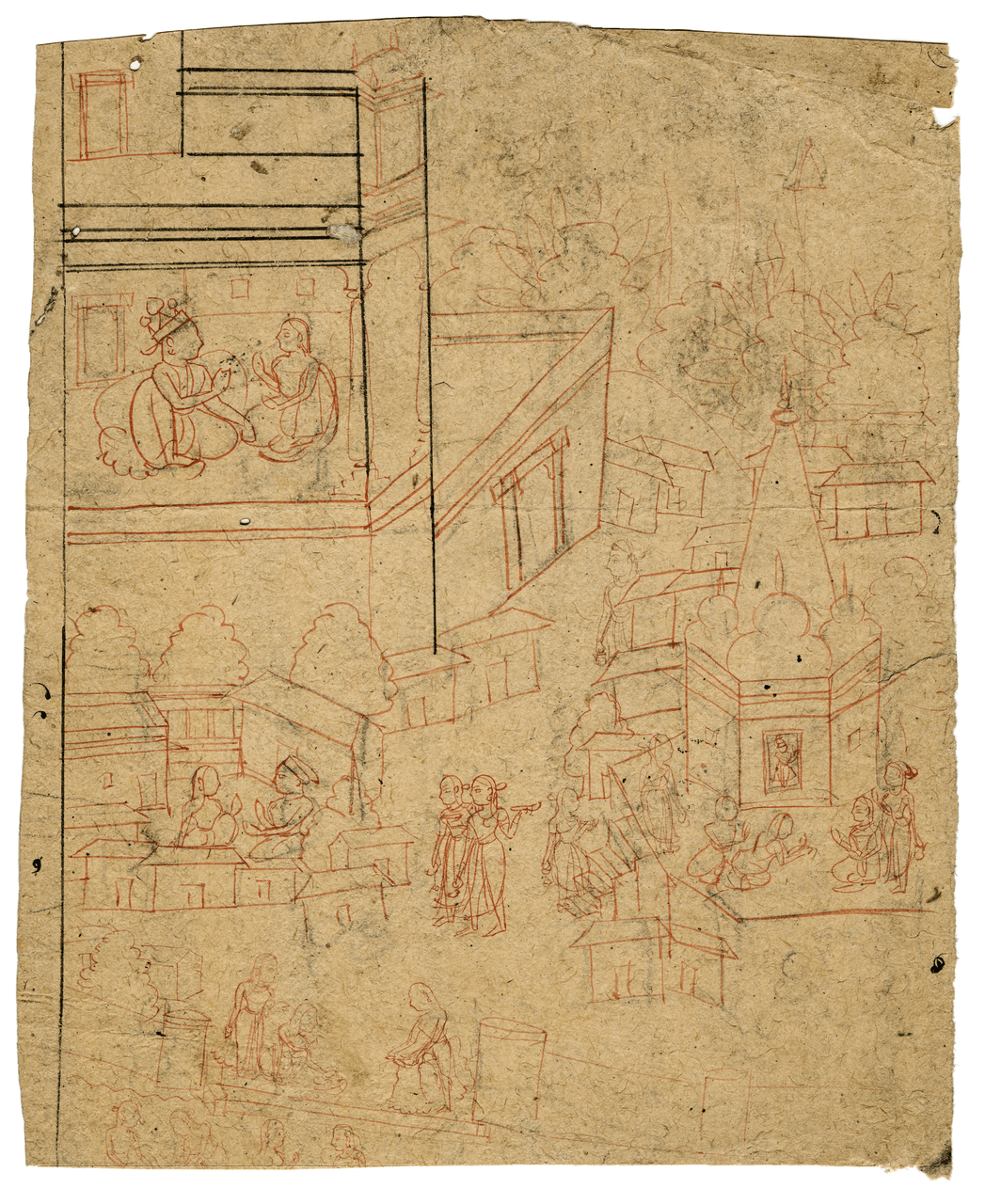 A 17th-18th Century Indian Ink Drawing Fragment