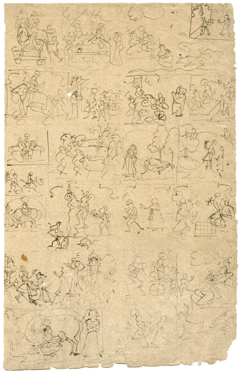 An 18th Century Indian Ink  Preparatory Drawing Fragment Of Krishna