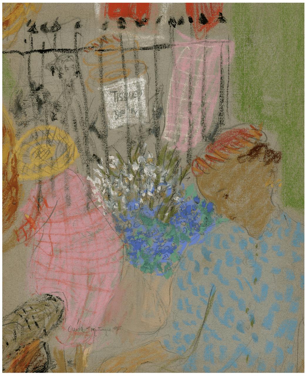 Ovida Martingia 1955 Vintage French Impressionist Pastel Drawing