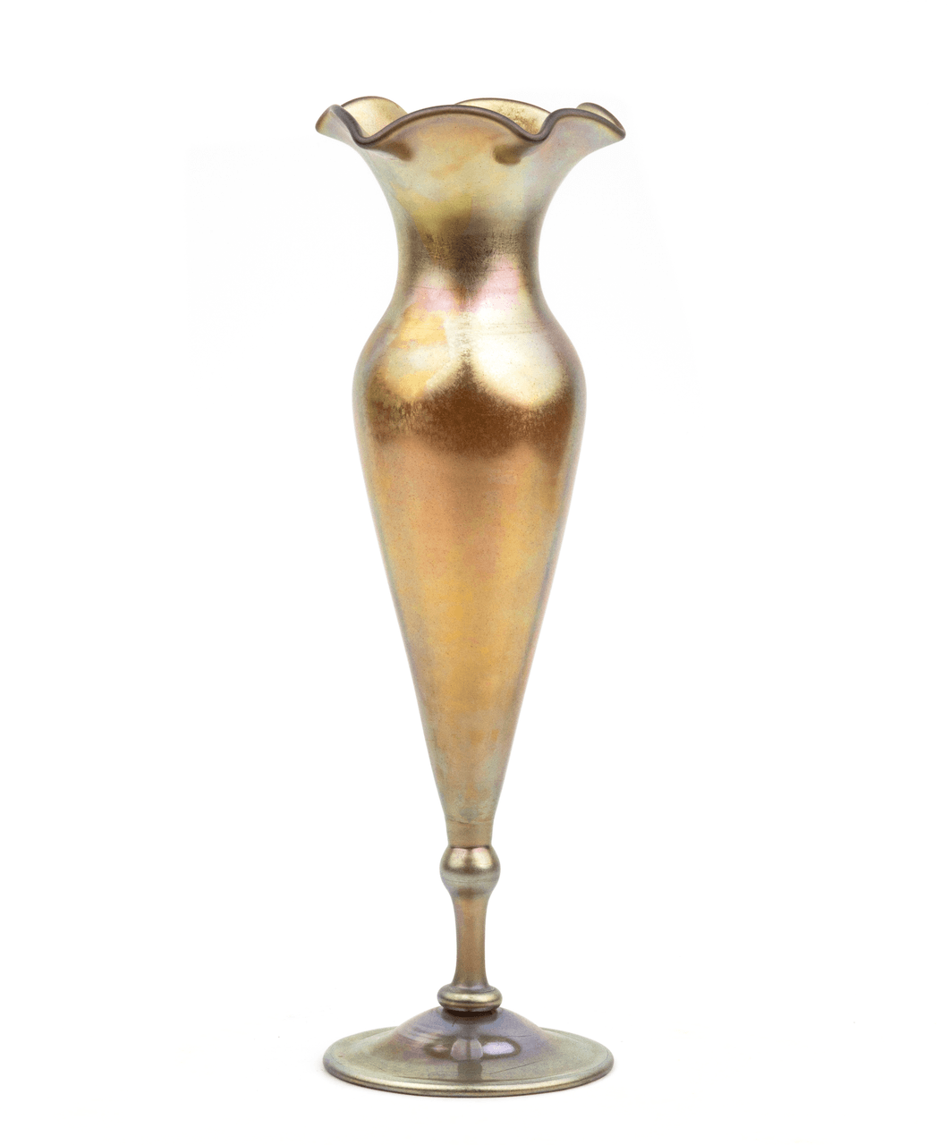 An Antique Steuben Art Glass Aurene Glass Footed Floriform Vase
