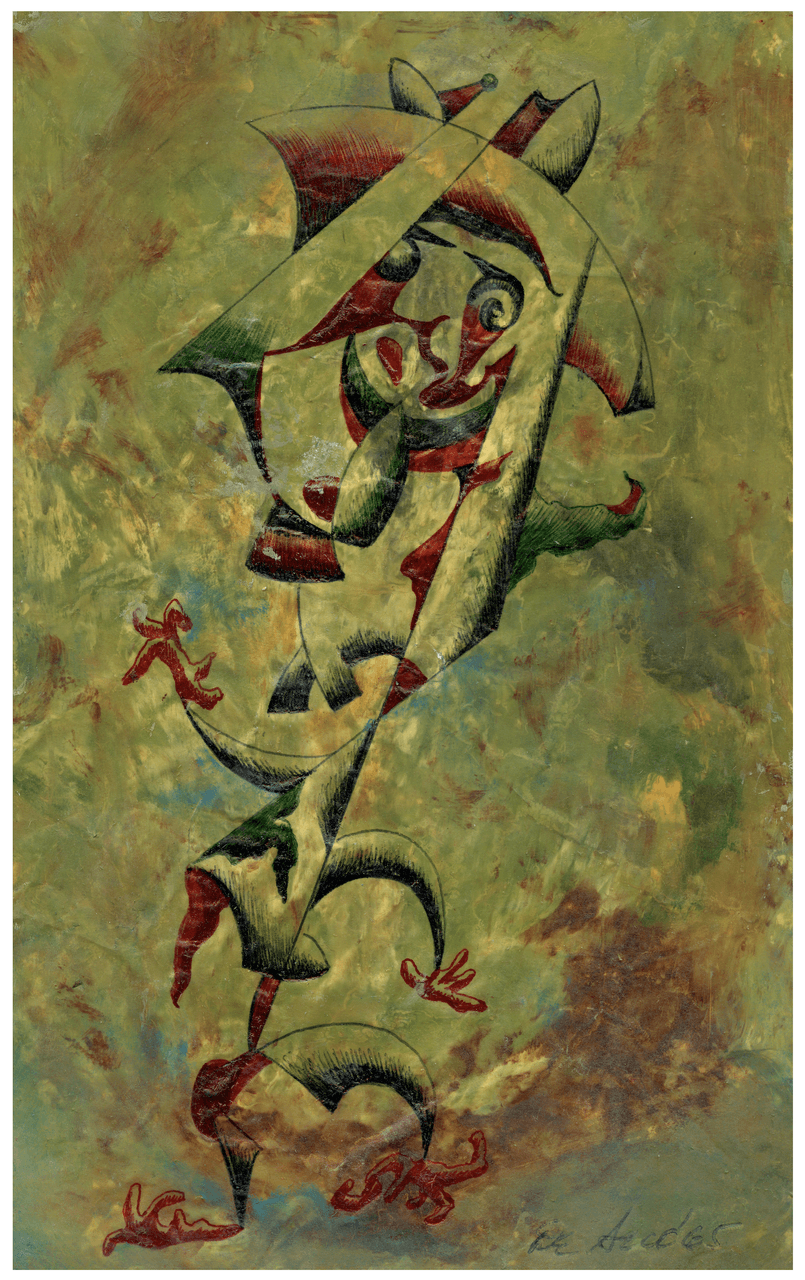 Painting Of A Surrealist Figure Signed De Seco 65'