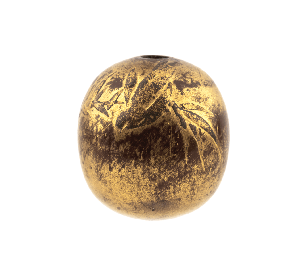 An Antique Japanese Gilt Lacquered Bamboo and Sparrow Ojime Bead