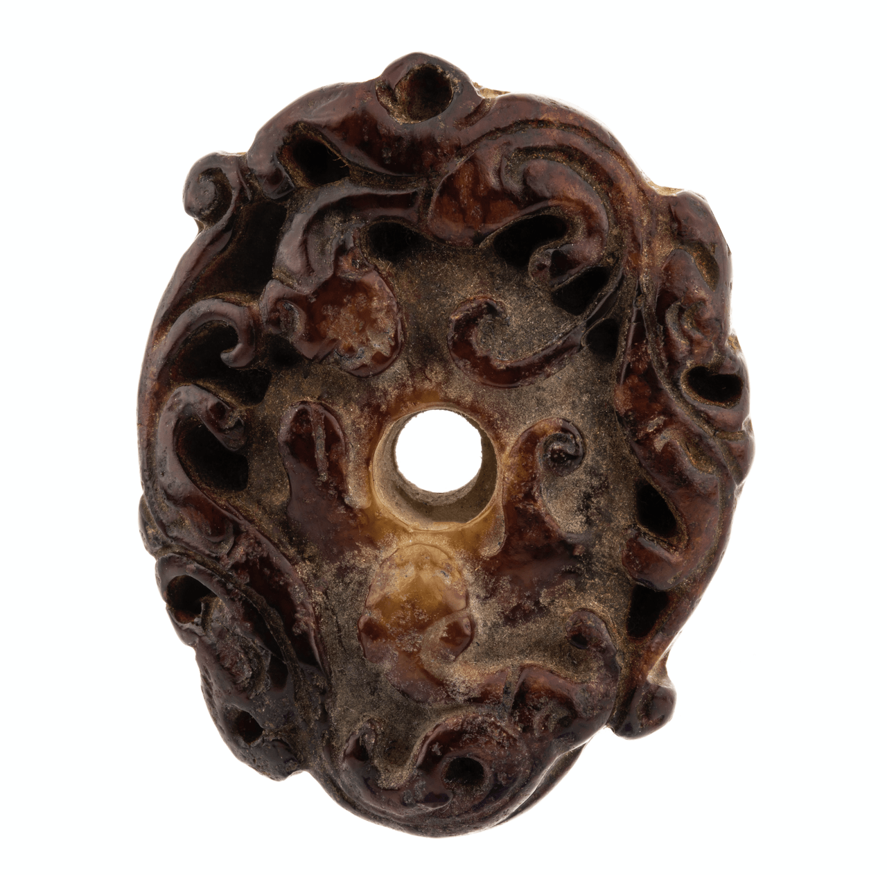 An Antique Chinese Chilong Carved Hard Stone Pendant