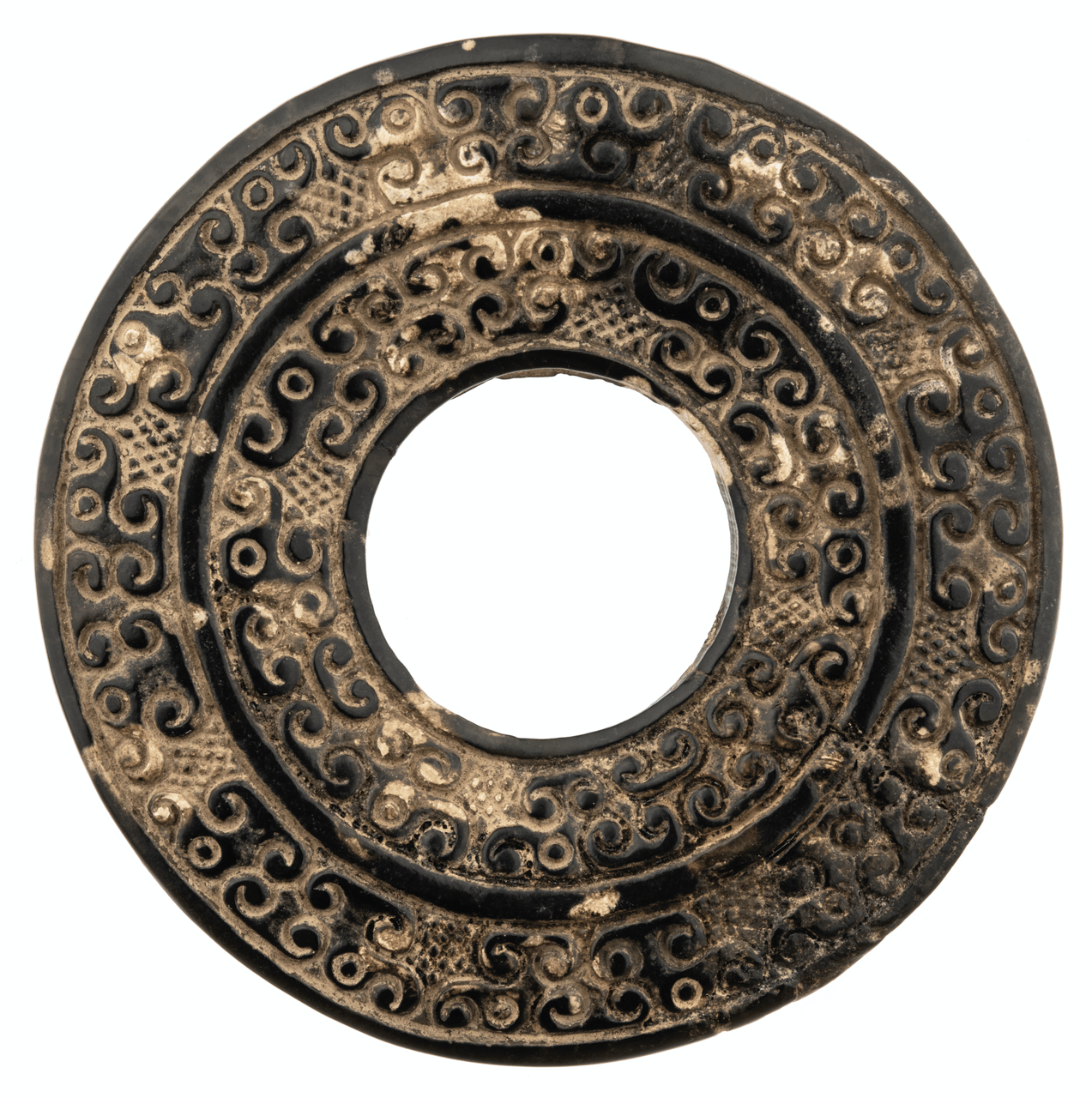 A Vintage Chinese Archaic Bi Disc Hard Stone Pendant