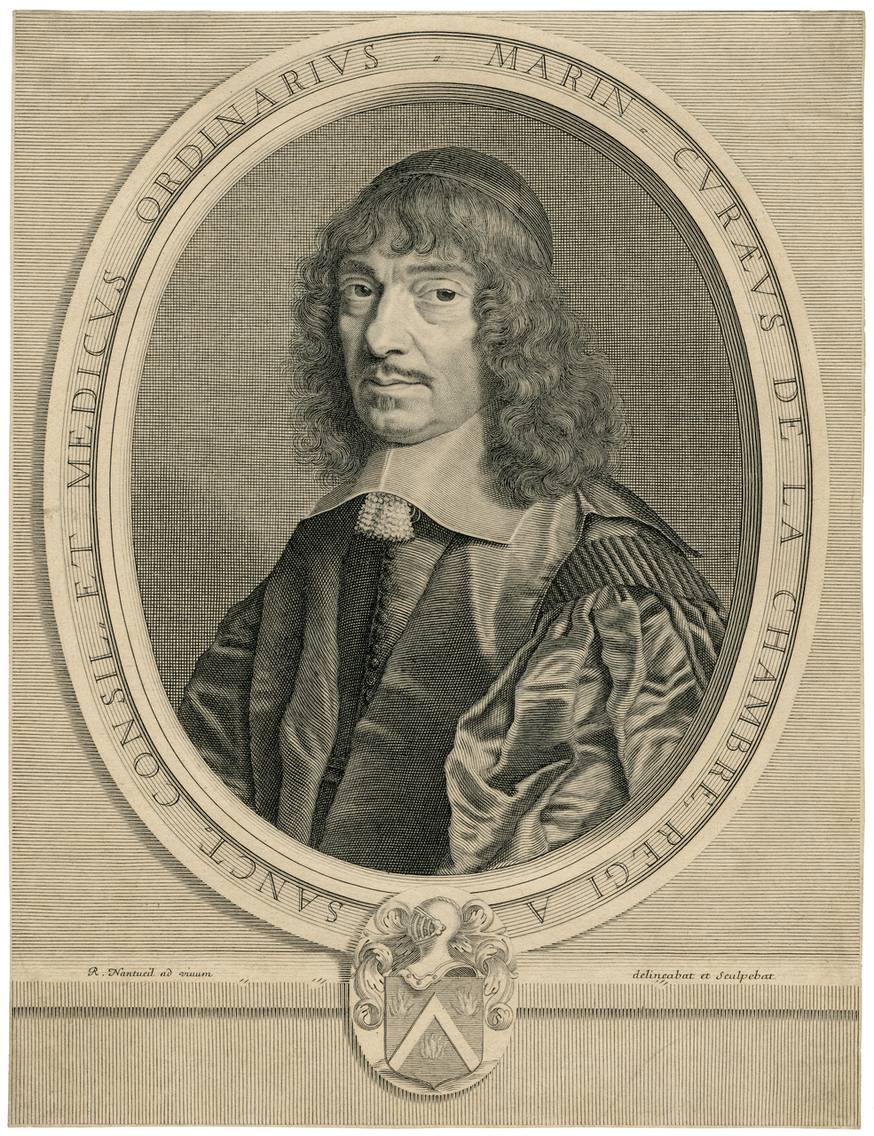 An Early Engraving of Marin Cureau De La Chambre By Robert Nanteuil