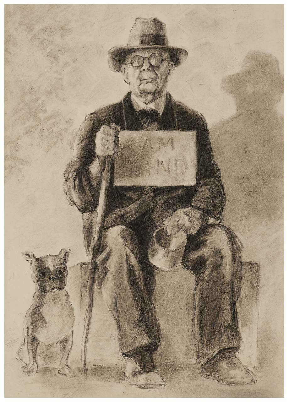 "A Vintage WPA Era "" I Am Blind"" Man & French Bulldog Drawing Illustration Art"