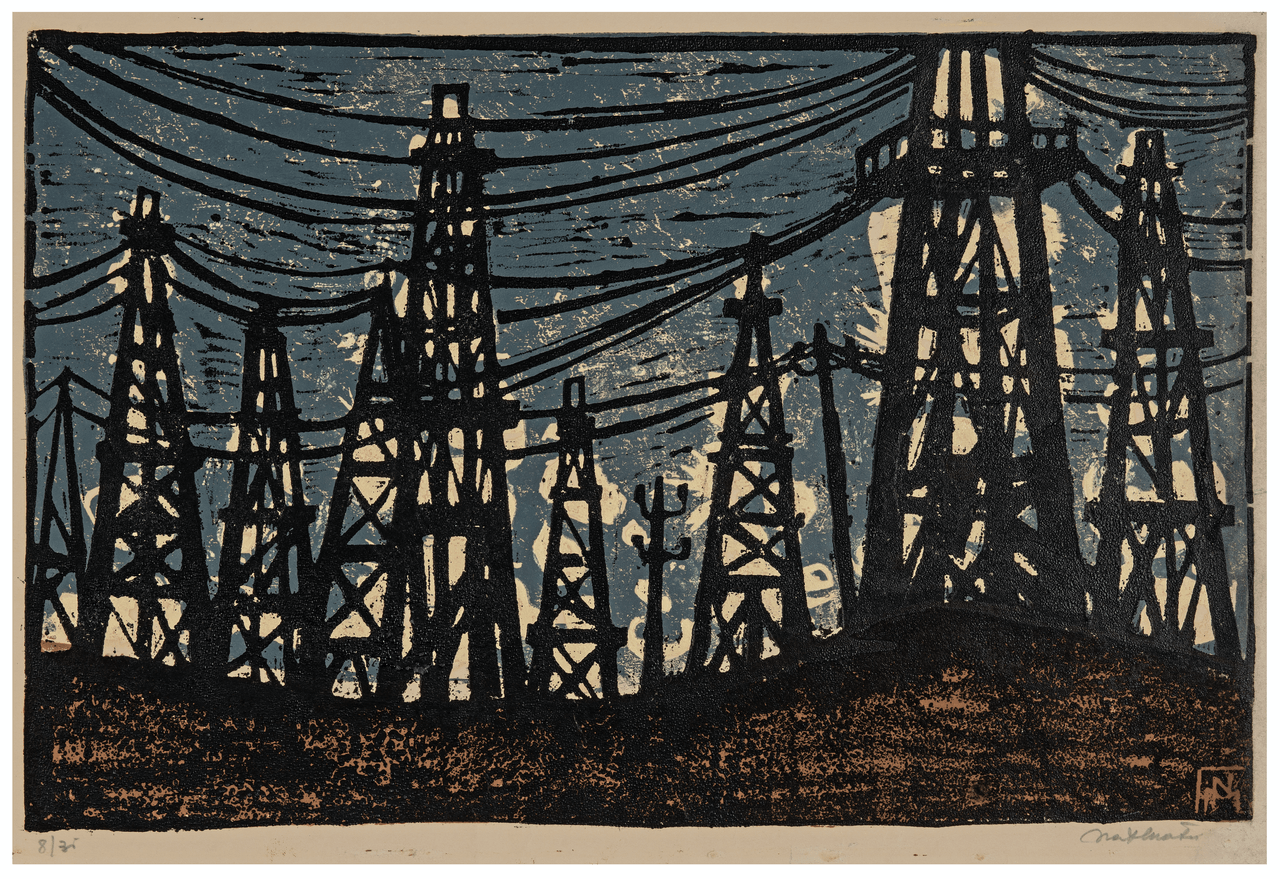"A Vintage Linocut Print ""Oil Derricks At Night"" Signed Natalia Matei"