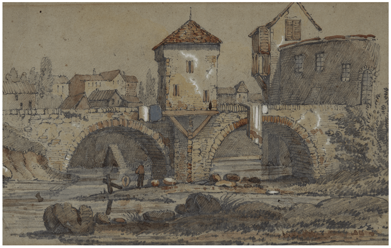 An Antique 18th/19th Century French Village Scene Drawing Sketch