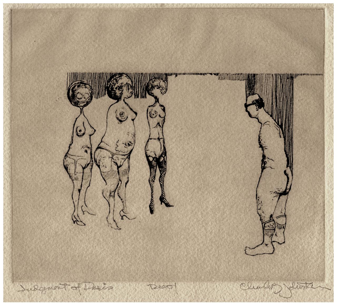 "A Vintage Signed Intaglio Print ""Judgement Of Paris"""
