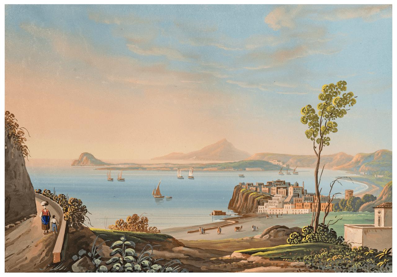 Neapolitan School 19th Century Painting Bay Of  Baiae