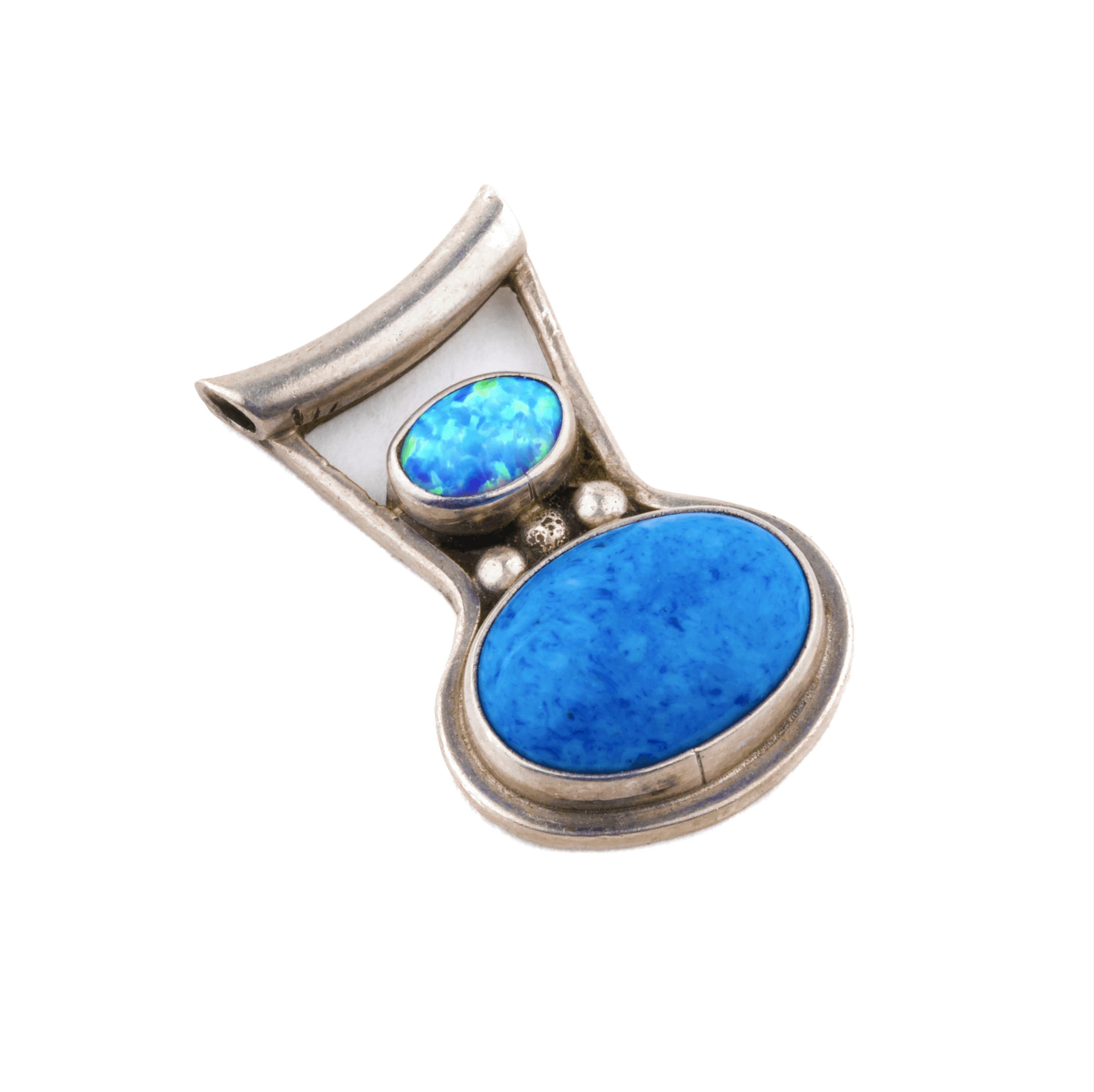 Vintage opal pendant silver jewelry