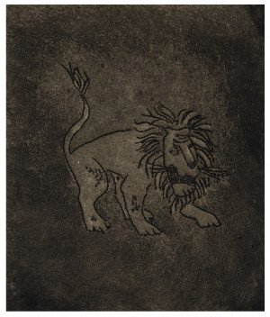 A Vintage Etching Intaglio Print Of A Lion