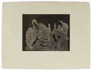 A Vintage 1974 Mark Tobey Signed Intaglio Print Awakening Night