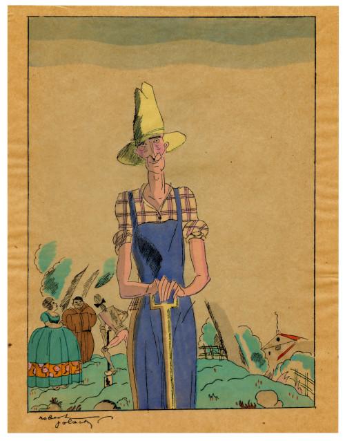 "An Art Deco Robert Polack Planographic Print Éditions Nilsson Ca. 1927 ""Farmer"""
