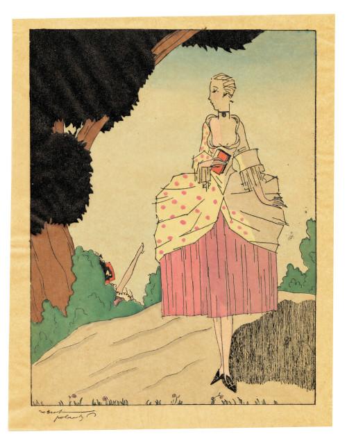 "An Art Deco Robert Polack Planographic Print Éditions Nilsson Ca. 1927 ""Lady"""