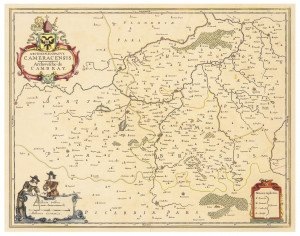 An Antique Map Of Cambrai France Circa 17th-18th Century Cameracensis Cambray