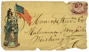 Antique American Civil War Patriotic Postal Cover With Stamp