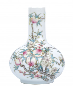 A Vintage Chinese Famille Rose Peach Bottle Vase