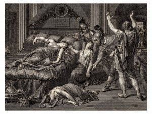 Antique wall art print Domenichino The Death of Cleopatra
