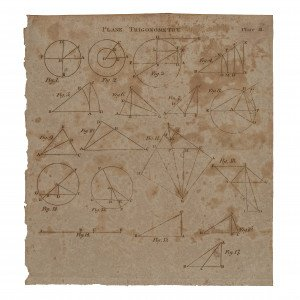 19c. Plane Trigonometry Engraving Wall Art Print