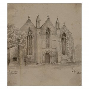 British antique architectural drawing