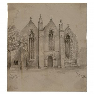19th Century British Drawing Architectural Landscape Study