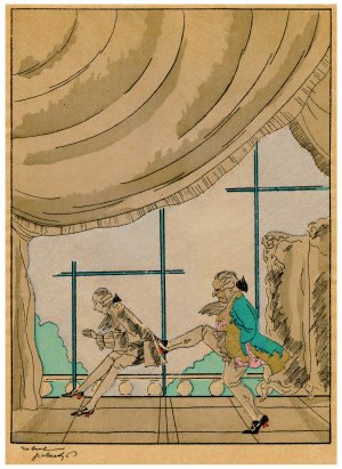 "An Art Deco Robert Polack Planographic Print Éditions Nilsson Ca. 1927 ""Kicked"""