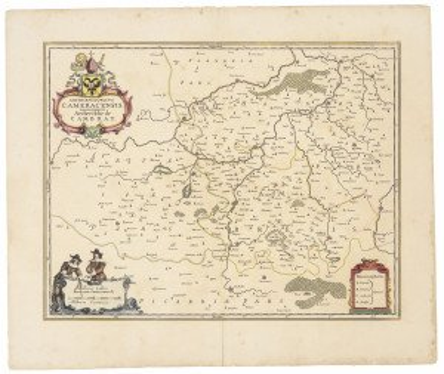 An Antique Map Of Cambrai France Circa 17th-18th Century Cameracensis Cambray