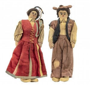 A Pair Of Early Vintage South American Folk Art Dolls