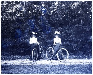 An Antique Glass Plate Negative Photograph Ladies Posing With Early Bicycles