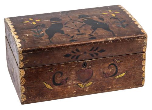 An Antique Folk Art Paint Decorated Unicorns & Heart Pine Box