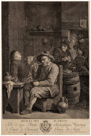 An Antique 18th Century Etching Print Délices des Flaman David Teniers