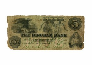 An Antique Hingham Bank Five Dollar Currency Note State of Massachusetts 1860