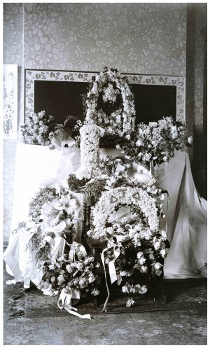An Antique Glass Plate Negative of Roses & Wreathes Interior