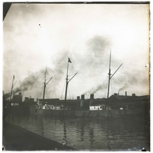 An Early Antique Glass Plate Negative Photograph Maritime Harbor Scene