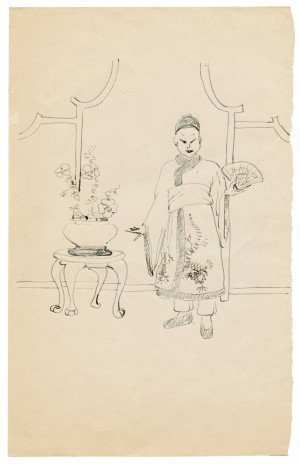 "A Vintage Chinoiserie Orientalist Drawing Study ""A Lady With Hand Fan"""