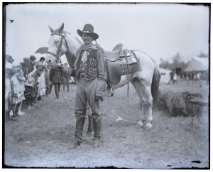 An Antique Glass Plate Negative Photograph Of A Western Cowboy