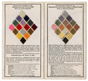 An Antique 1916 Diamond Dyes Sample Card Wells & Richardson Burlington, VT