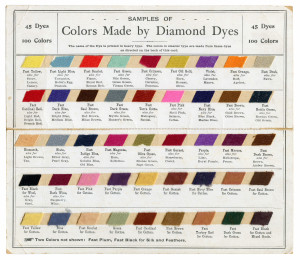 An Early Vintage 45 Dye Diamond Dyes Sample Card Burlington, VT