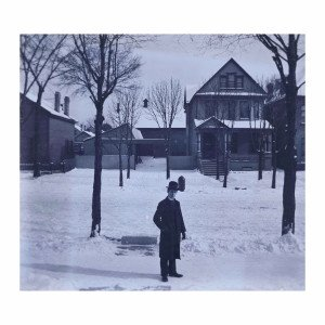 An Antique Glass Plate Negative Photograph Gentleman In Winter