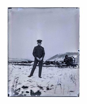 Antique Glass Plate Negative Photograph WW1 Solider On The Homestead