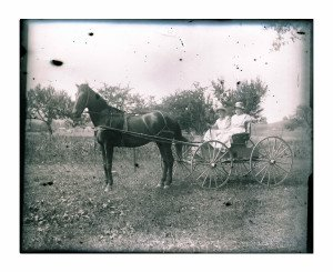 Glass Plate Negative Antique Photograph, Two Ladies On the Farmstead