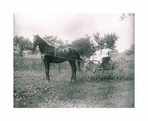 Glass Plate Negative Antique Photograph, Two Ladies On the Farmstead 2