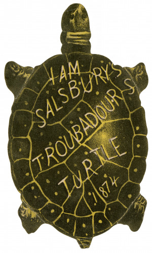 I Am Salsbury Troubadours Turtle 1874 Antique Trade Card Ephemera