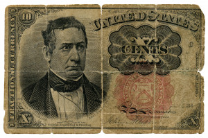 An Antique Fractional Currency 10 Cent Note Columbian Bank Note Co.