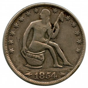 An Unusual Seated U.S. Seated Liberty Hand Carved Folk Art Coin Dated 1854