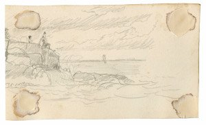 An Antique American Ocean Pier Study Drawing South Pier Aug 1864