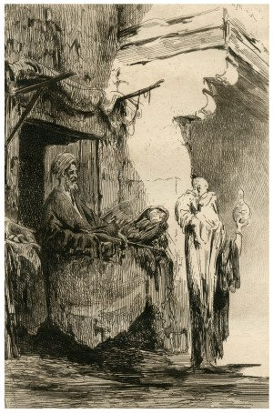 A 19th Century Etching A Merchant In Cairo, By Georges Duseigneur & A Cadart